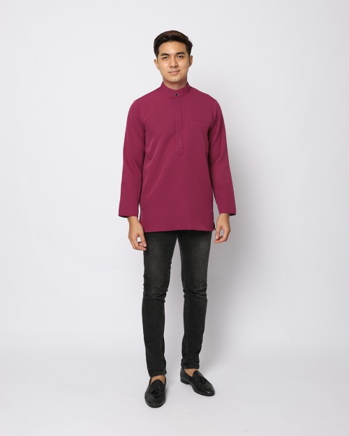 AUFMAN KURTA ZIP - BURGUNDY