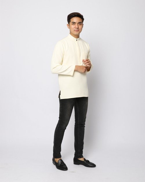 AUFMAN KURTA ZIP - SOFT YELLOW