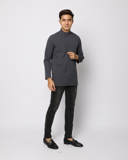 AUFMAN KURTA ZIP - DARK GREY