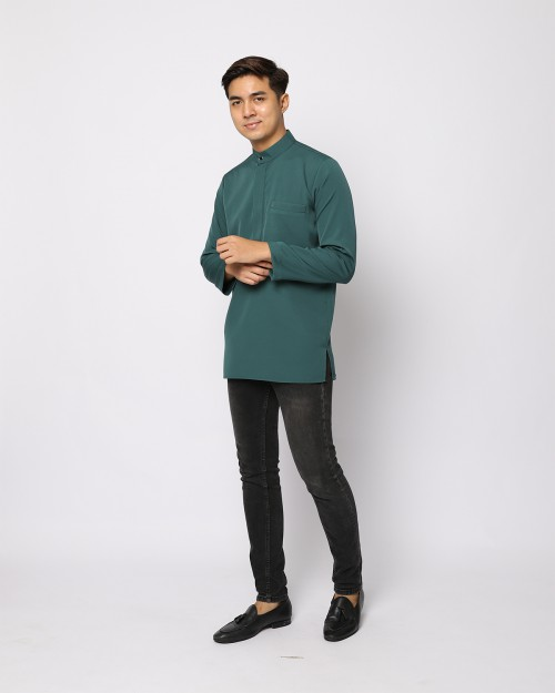 AUFMAN KURTA ZIP - ANTIQUE GREEN