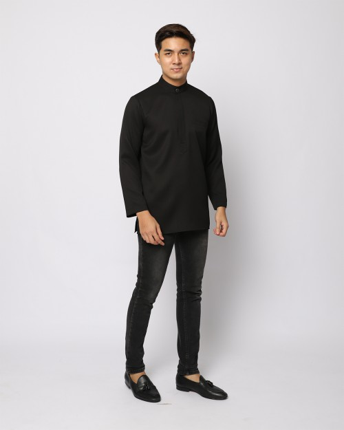 AUFMAN KURTA ZIP - BLACK