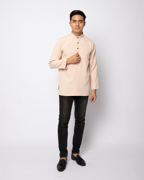 HELMICO KURTA BUTTON - NUDE CREAM