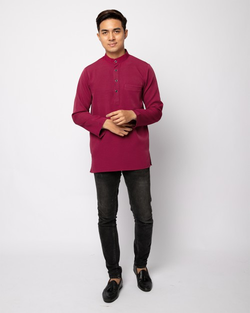 HELMICO KURTA BUTTON - BURGUNDY