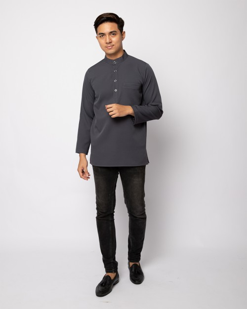 HELMICO KURTA BUTTON - DARK GREY