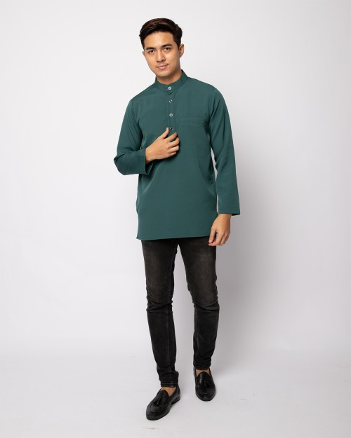HELMICO KURTA BUTTON - ANTIQUE GREEN