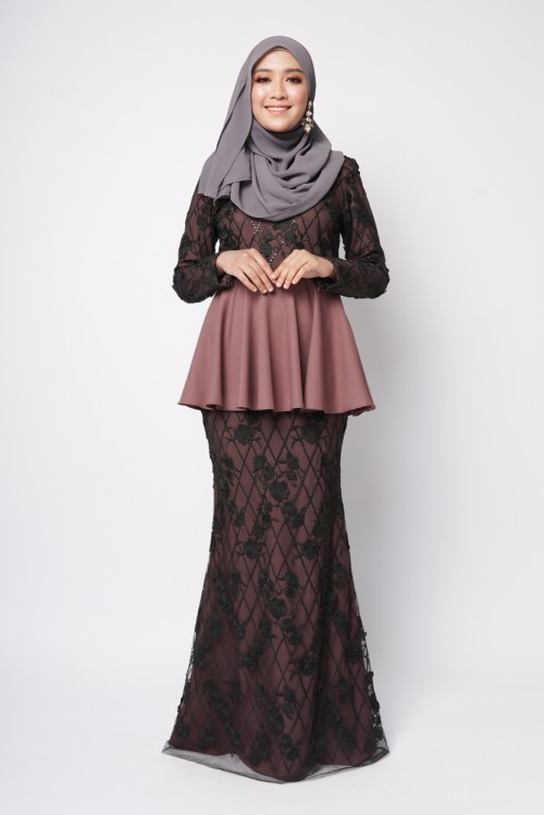 ESTELLE PEPLUM COUTURE - DARK MAUVE BLACK