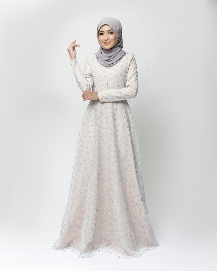 LEONIS DRESS-NUDE CREAM