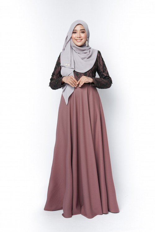 ESTELLE DRESS - DARK MAUVE BLACK